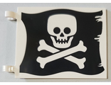 Flag 6 x 4 with Flat Skull and Crossbones Jolly Roger Pattern on Both Sides, White (2525pb012 / 6316600 / 6317072)