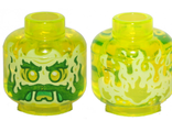 Minifigure, Head Alien Ghost with Yellowish Green Face, Beard, Sideburns, Slime Mouth and Flames in Back Pattern - Hollow Stud, Trans-Neon Green (3626cpb2453 / 6279128)