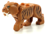 Cat, Large ;Saber-Toothed Tiger; with Light Yellow Eyes, Long Teeth and Reddish Brown Stripes Pattern, Medium Nougat (bb0787c03pb01 / 6225509)