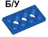 ! Б/У - Technic, Plate 2 x 4 with 3 Holes, Blue (3709b / 370923) - Б/У