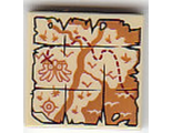 Tile 2 x 2 with Map River, Mountains, Waves and Red 'X' Pattern 60161, Tan (3068bpb1088 / 6195319)