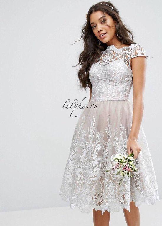 203d1de8b04 Вечернее серое винтажное пышное коктейльное платье до колена с кружевной  вышивкой 9500