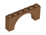Brick, Arch 1 x 6 x 2 - Medium Thick Top without Reinforced Underside, Medium Nougat (15254 / 6052788 / 6106193)