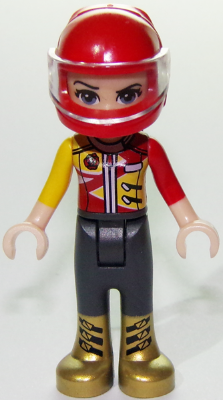 Friends Vicky, Trousers with Metallic Gold Boots, Red and Yellow Racing Jacket, Helmet, n/a (frnd278)