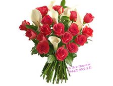 Каллы с розами букет Очарование и Элегантность