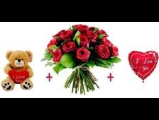 Розы, плюшевый мишка и воздушный шар Моей Девочке