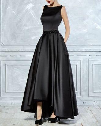 bcd054c7376 Роскошное длинное атласное вечернее платье черного цвета короткое спереди  гипюром на закрытой спинке