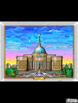 Ak-orda  векторный шаблон, иллюстрация фасада здания.