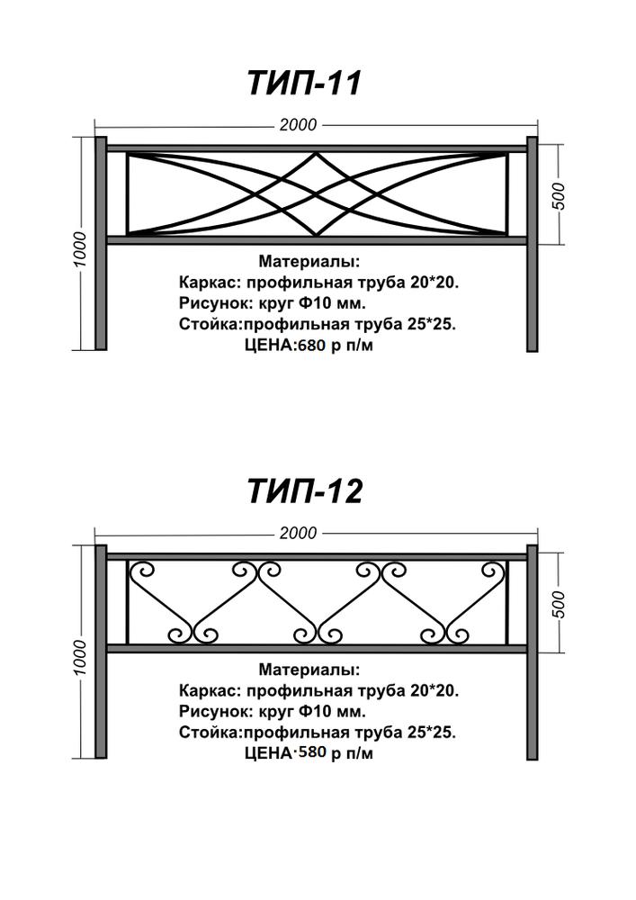 Оградки на могилу из профильной трубы чертежи