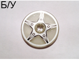 ! Б/У - Technic, Disk 3 x 3 with 5-Bolt Star Pattern (Sticker) - Set 8647, Glow In Dark Trans (2958pb034) - Б/У