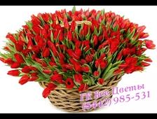Корзина Тюльпанов 101 красный Тюльпан в корзине