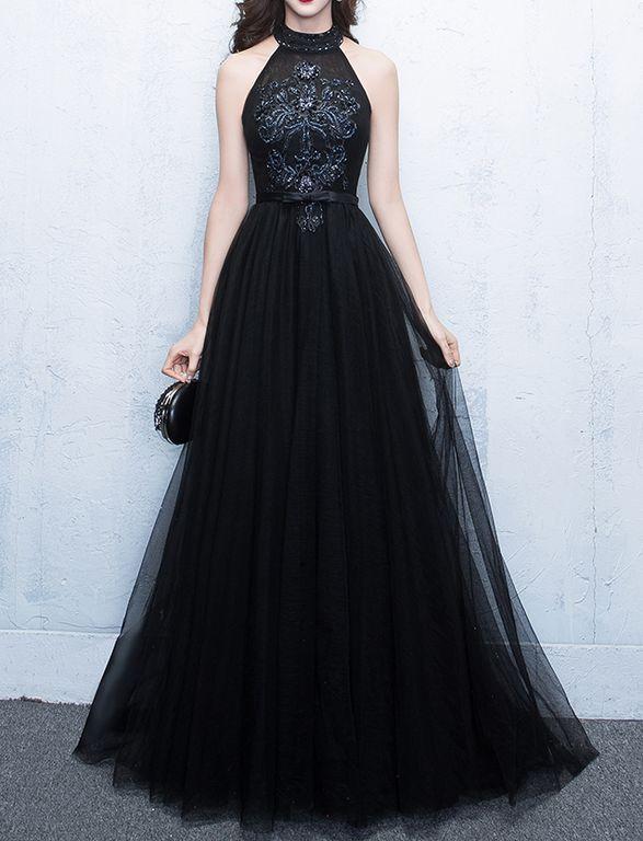 33468906429 Черное вечернее бальное платье с ручной вышивкой