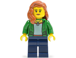 Green Female Jacket Open with Necklace, Dark Blue Legs, Dark Orange Female Hair over Shoulder, n/a (cty0545)