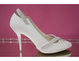 Распродажа свадебные туфли белые украшены стразами серебренными средний каблук № =540