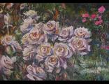 "Круглова Светлана. ""Розы белые в саду"",  холст / масло,  50 х 70 см.,  2015 г."