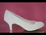 Свадебные вечерние туфли кожа выбитая классические айвори бежевые маленький каблук купить магазин