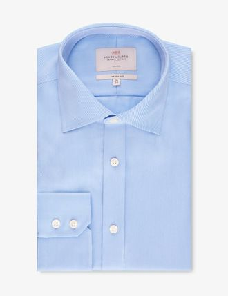 Рубашка Hawes & Curtis Men's Formal Blue Twill Slim Fit Shirt - Single Cuff - Non Iron