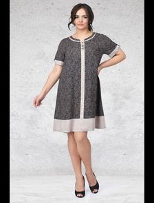 Свободное платье из штапеля Мари-лайн-1451 (синий). Размерный ряд: 52-62