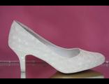 Айвори шампань свадебные туфли больших и стандартных размеров классика круглый мыс на маленьком широком каблуке выбитая кожа № В2290В=90