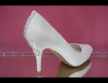 Свадебные туфли белые на каблуке и пятке стразы серебренные средний устойчивый каблук купить салон