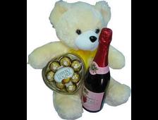 Бежевый плюшевый Мишка, конфеты Ferrero Rocher, бутылка красного вина