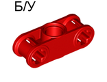 ! Б/У - Technic, Axle and Pin Connector Perpendicular 3L with Center Pin Hole, Red (32184 / 4128598) - Б/У