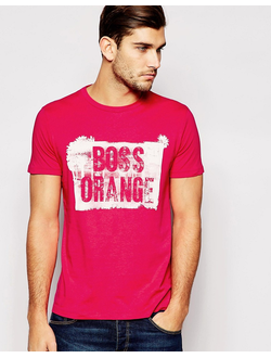 Футболка с принтом логотипа BOSS Orange, цвет красный