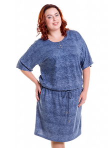 Платье с кулиской Лакшери-536-деним. Размерный ряд: 52-68