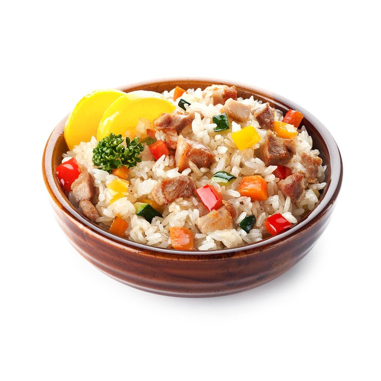 Японский рис с овощами и курицей