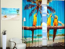 Дизайнерские фотошторы: Тропические попугаи