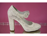 Свадебные туфли айвори расшиты серебренной ниткой широкий устойчивый каблук с перепонкой вечерние № 24