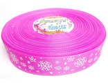 "Репс с рисунком ""Снежинка"" 25мм ярко-розовая"