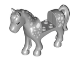 Horse with 2 x 2 Cutout, Light Bluish Gray Eyes and White Spots Pattern, Light Bluish Gray (93083c01pb09 / 6151588)