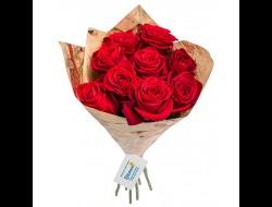 9 роз в крафтовой бумаге