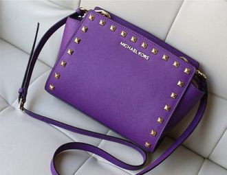 Сумка Michael Kors Selma Mini Messenger Studded Violet / Фиолетовая