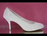 Свадебные вечерние туфли выбитая кожа классические айвори бежевые маленький каблук шпилька купить