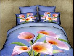 Каллы. Евро комплект мини на одеяло 200*220. Элитное постельное белье отличного качества, ткань сатин купонный 3д, 100% хлопок, без добавления синтетики, прочные красители безопасные для здоровья.