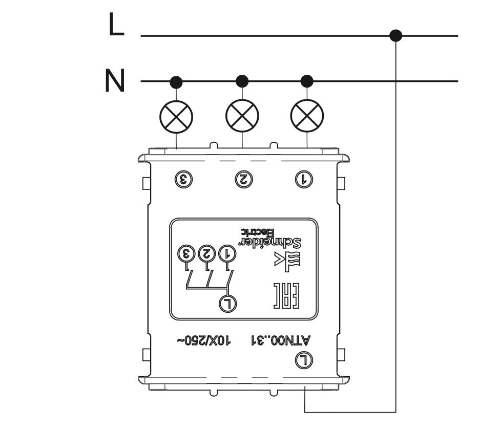 схема подключения трехклавишного выключателя Schneider Electric серии Atlas Design.