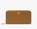 Prada Metallic Gold Wallet Cinnamon