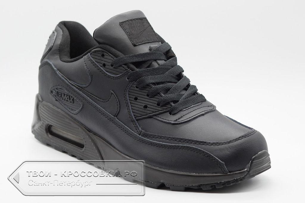 c5624559d8459a Купить черные кожаные кроссовки Nike Air Max 90 мужские black ...