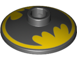 Dish 2 x 2 Inverted Radar with Black Batman Logo on Yellow Background Pattern, Black (4740pb018 / 6271081)