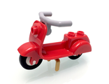 Scooter with Pearl Gold Stand and Light Bluish Gray Angular Handlebars, Red (15396c01)