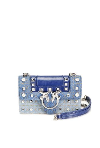 MINI LOVE BAG JEANS IN DENIM AND LEATHER