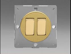 Двухклавишный  выключатель/переключатель 10А, Brushed Brass/матовая латунь (механизм)