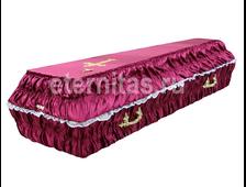 Гроб деревянный с тканевой отделкой гофре атлас бордо