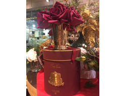 Композиция ROSE carmine red GOLD VASE
