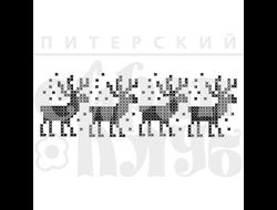 Штамп с лосями, вышивка крестом