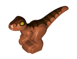 Dinosaur, Baby Standing with Dark Brown Stripes, Reddish Brown Back and Yellow Eyes Pattern, Dark Orange (37829pb01 / 6225624)