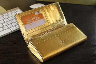 КОШЕЛЕК MICHAEL KORS Metallic Saffiano GOLD LONG