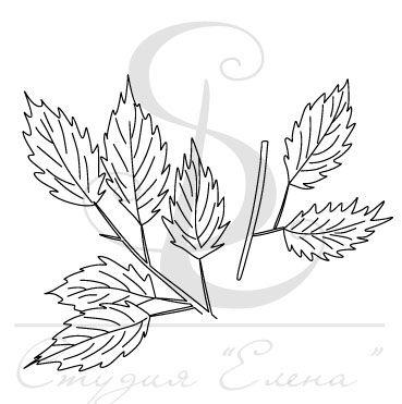 Штамп с двумя веточками с листьями